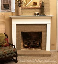 Notched Fireplace Mantel Shelf and Extended Mantel Leg Returns (Monticello… Painted Fireplace Mantels, Wooden Fireplace Surround, Brick Fireplace Wall, Fireplace Mantel Surrounds, Brick Fireplace Makeover, Wood Mantels, Fireplace Remodel, Fireplace Design, Corner Fireplaces