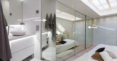Kaksipuoleinen peililiukuovi toimii kekseliäästi väliovena makuuhuoneesta kylpyhuoneeseen. uniquehome.fi