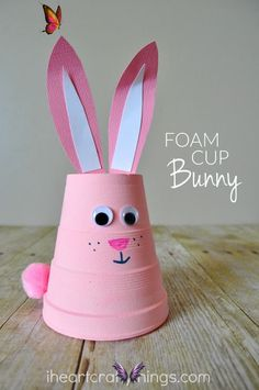 How to Make a Super Cute Foam Cup Bunny Craft This super cute foam bunny craft is fun for kids to create and it makes an adorable spring and Easter decoration. Such a simple and fun spring and Easter craft for kids.<br> Wait, what? Another foam cup craft you ask? Absolutely! And trust me, you are definitely going to want to add this one to your spring crafting to-do list. This super cute foam bunny craft is fun for kids to create and it makes an adorable spring decoration for around the… Easter Crafts To Make, Diy Projects Easter, Diy Easter Cards, Easy Mother's Day Crafts, Easter Crafts For Toddlers, Pig Crafts, Christmas Craft Projects, Bunny Crafts, Easy Christmas Crafts