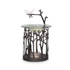 Such an adorable piece and goes great with any decor! The white bird on the top is such a wonderful accent. Can be used as a fragrance warmer or take off the top glass piece and put in a jar candle in the color of your choice. Only $20!
