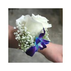 Corsage with Blue Orchid and White Rose - W Flowers Ottawa via Polyvore