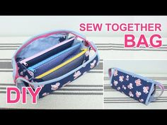 Como fazer uma necessarie com 4 zíperes Sew Together Bag, Sewing Station, Diy Wallet, Diy Bags Purses, Backpack Pattern, Fabric Bags, Pouch Bag, Sewing Tutorials, Sewing Kits