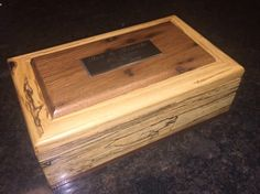 A keepsake box as a gift to my parents in 2016 in honor of their 60th wedding anniversary.  Made of spalted pin oak from their backyard, 150 yr old wormy chestnut (lid) and sapelle mahogany (bottom edge band).