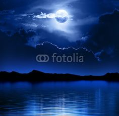 """Wall Mural """"Fantasy Moon and Clouds over water"""" will not include the watermark.  Author: © JohanSwanepoel; Wall Mural Number: #52670792 moon, cloud, water, mountain, fantasy, ocean, cloudscape, moonscape, night, dark."""