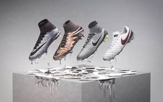 Nike's newest boots collection, the Liquid Chrome pack, features unique, shiny metallic paint jobs for Nike's Hypervenom, Magista, Mercurial and Tiempo soccer cleats.