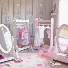 Dressing Up Rail - Sweetheart, White - Dress Up - Playrooms Baby Bedroom, Girls Bedroom, Bedroom Decor, Bedroom Ideas, Childrens Mirrors, Dress Up Storage, Clothes Storage, Rose Pastel, Kids Dress Up