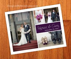 100 Wedding Thank You Postcards with image on back - Text block can be ANY color - Simple & Modern - Free Shipping