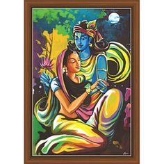 Radha Krishna Paintings (RK-9117) Krishna Drawing, Krishna Art, Radhe Krishna, Radha Krishna Paintings, Lord Krishna Images, Radha Krishna Pictures, Radha Krishna Wallpaper, Ganesha Painting, Mini Canvas Art