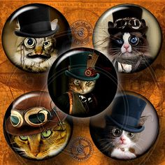"Steampunk Cat - 1.5"", 1.25"", 30mm, 1.06"", 25mm - Digital Collage Sheet CG-556 for Scrapbooking, Pendants, Bottle Caps - Instant Donwload"