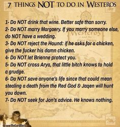 What we've learned from Game of Thrones so far.. hahaha these are awesome