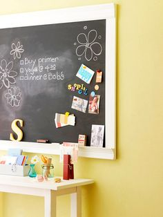 A fabulous idea! This would be ideal in the mudroom or entranceway; the last place my kids look or the first depending on if they are leaving or coming home. Great for notes and chore lists...however due to a dust allergy I may have to switch out the chalkboard for a white erase board and a dark frame. But LOVE IT!