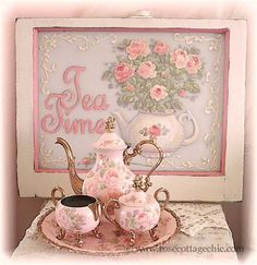Pastel pink/shabby/tea set...love that sign too...