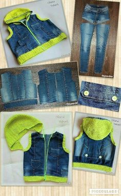 Denim jacket / vest made from old jeans and sweaters . clothes for teen clothes no sewing clothes refashion clothes thrift store clothes tshirt Jeans Refashion, Clothes Refashion, Diy Jeans, Jean Crafts, Denim Crafts, Sewing Aprons, Sewing Clothes, Sewing Diy, Clothes Crafts