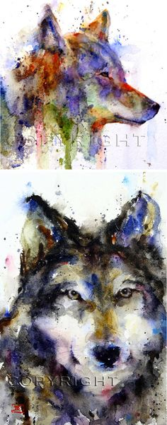 Dean Crouser, art, painting, watercolor, animals, wildlife, wolves