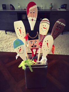 painted holiday wooden spoons