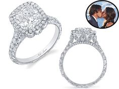 """Bachelor Ben Flajnik's engagement ring, courtesy of Neil Lane. 3 carat cushion halo with 3 tulip petals on each side of the basket. seriously stunning, and love the use of petals as """"past-present-future"""" instead of a 3-stone setting...nice girly touch without being too floral!!"""