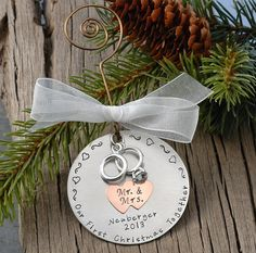 JUST MARRIED ornament, Wedding ornament, personalized christmas ...