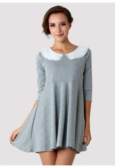 Peter Pan Double Collar Dress in Grey - New Arrivals - Retro, Indie and Unique Fashion #Chicwish