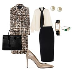 """Work"" by cgraham1 on Polyvore featuring Lanvin, Dolce&Gabbana, Roland Mouret, Yves Saint Laurent, Carolee and Hermès"