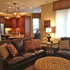 Traditional family room brown leather design pictures remodel decor