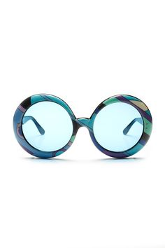 Further REDUCTION were 650 now 450 amazing  iconic vintage 60s PUCCI geometric print blue lense oversized round sunglasses