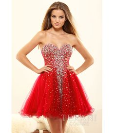 Red Crystal Strapless Sweetheart Prom Dress #uniquevintage #prom