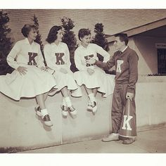 University of Kentucky cheerleading squad members, 1950s. Boy, how things change!