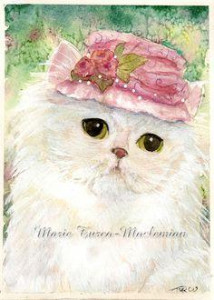 Original Persian cat in Victorian hat painting