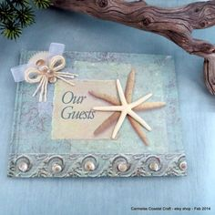Beach decor starfish guest book_beach by CarmelasCoastalCraft, $16.75