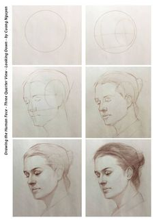 Drawing the human face - Three quarter view - Looking down - By Cuong Nguyen