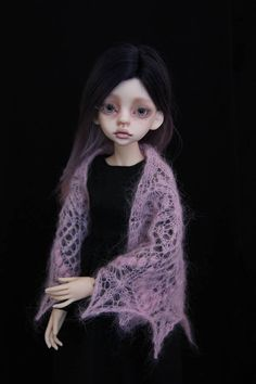 Light pink knitted shawl for msd doll.
