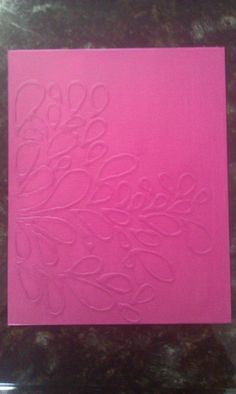 My first pinterest project! Go over a design on canvas with school glue, then paint it when its dry. (: