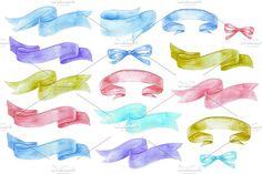 color watercolor ribbon by Liliia Rudchenko on @creativemarket