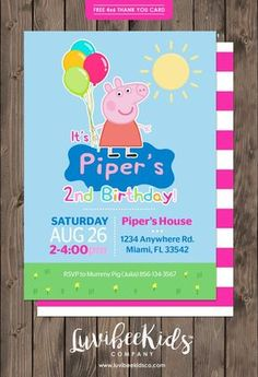 Peppa Pig Birthday Invitation | Free Backside & Thank You Card –…