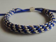 DIY Tutorial Pulsera kumihimo dos colores con nudo corredizo. Bracelet k...
