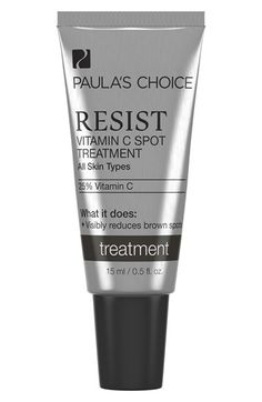 PAULA'S CHOICE 'Resist' Vitamin C Spot Treatment at Nordstrom.com. Resist Vitamin C Spot Treatment is an innovative formula that combines 25% stabilized vitamin C (ascorbic acid) in a silky, line-smoothing texture. It's ideal for spot-treating stubborn brown spots and post-acne discolorations anywhere on your face, neck or chest. At least 3x per week and protect skin daily with sunscreen. This treatment also helps to reinforce skin's barrier and improve the appearance of deep wrinkles.