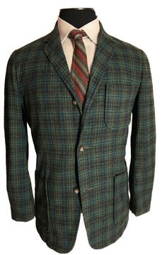 1950s Vintage Pendleton Plaid Sport Coat 3/2 Roll Sack Cut Trad Ivy League Jacket
