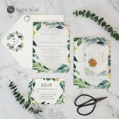 greenery vellum jacket wedding invitation suites with gold wax seal SWPI106 #wedding#weddinginvitations#stylishwedd#stylishweddinvitations #vellumweddinginvitations