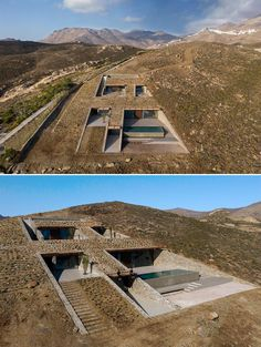 Architecture Design, Architecture Renovation, Amazing Architecture, House Built Into Hillside, Earth Sheltered Homes, Underground Homes, Unique House Design, Earth Homes, Earthship