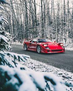 Ferrari with a touch of snow ❄️ via 📸 _________________________________________________ Ferrari F40, Maserati, Lamborghini Gallardo, Exotic Sports Cars, Cool Sports Cars, Sport Cars, Exotic Cars, Race Cars, Audi