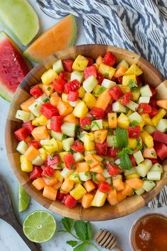 Melon and Pineapple Fruit Salad with Honey, Lime and Mint Dressing - Cooking Classy