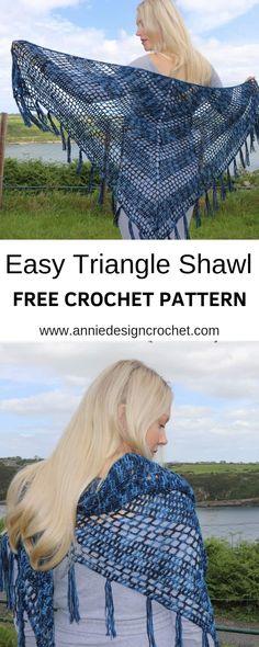 Nightfall - Free crochet pattern for triangle shawl - Annie Design Crochet Crochet Shawl Free, Crochet Shawls And Wraps, Basic Crochet Stitches, Crochet Scarves, Crochet Clothes, Lace Shawls, Hand Crochet, Crochet Triangle Scarf, Crochet Sweaters