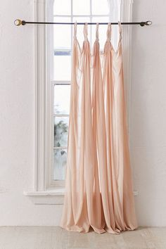 blush pink curtains with knotted details