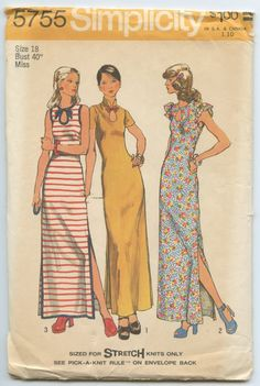 1970s Simplicity 5755 Sleeveless Maxi Dress for Stretch Knit Fabrics Keyhole Neckline Side Slits Vintage Sewing Pattern Bust 40 UNCUT by GreyDogVintage on Etsy