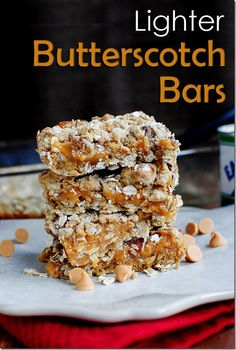 Lighter Butterscotch Bars ~ a crumbly oatmeal crust sandwiches a creamy layer of sweet butterscotch. Each bar is just 148 calories!