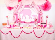 Elephant Baby Shower, seriously stunning! #babyshower #pinkbabyshower #elephantparty #babygirl