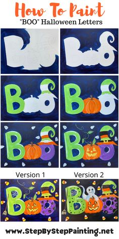 Halloween Canvas Paintings, Fall Canvas Painting, Canvas Painting Tutorials, Halloween Painting, Autumn Painting, Diy Canvas Art, Painting For Kids, Diy Painting, Halloween Letters