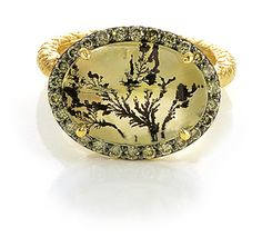 A beautiful little world inside of this Green Dendritic Quartz Ring with Green Diamond Pave.  All natural Brazilian quarts surrounded by all natural Australian green diamonds.  18 carat recycled yellow gold ring by Susan Wheeler Design