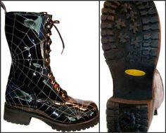 Men's vintage real patent leather spiderweb stitch combat boots, $165 on Etsy.