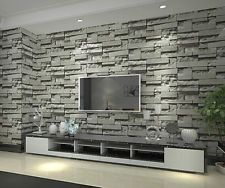 Grey 3D imitation brick pattern wallpaper study living room restaurant backdrop
